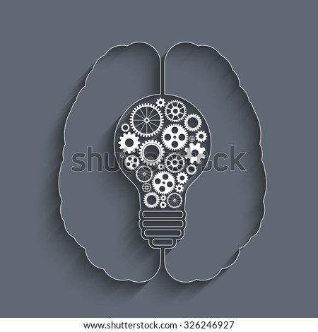 Human brain creating a new idea. Creative bulb with gears. Eps vector for your design. - stock vector