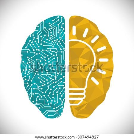 Human brain design, vector illustration eps 10. - stock vector