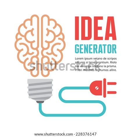 Human brain in light bulb vector illustration. Idea generator - creative infographic concept for presentation, booklet, web site and other design projects. Vector design elements. - stock vector
