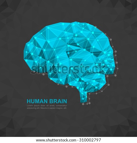Human brain polygonal geometric concept. Geometric abstract geometric brain with triangular polygons - low poly background. - stock vector