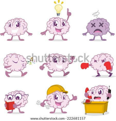 Human Brain set, with brain in different situations vector illustration. - stock vector