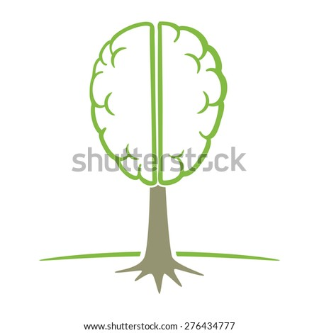 Human brain tree symbol think green concept vector illustration. - stock vector