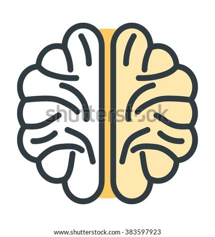 Human Brain Vector Icon - stock vector