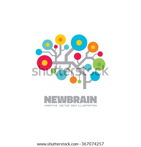 Human brain - vector logo concept illustration. Mind logo sign. Human brain in style of electronic structure. Education logo sign. Thinking logo sign. Creative idea logo sign. Vector logo template.  - stock vector