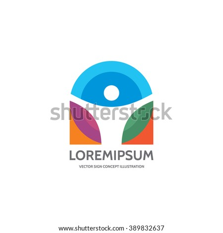 Human character vector logo concept illustration. Abstract man figure symbol. People icon. Design element.  - stock vector
