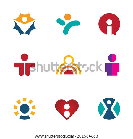 Human colorful shape icon set silhouette logo people social man - stock vector
