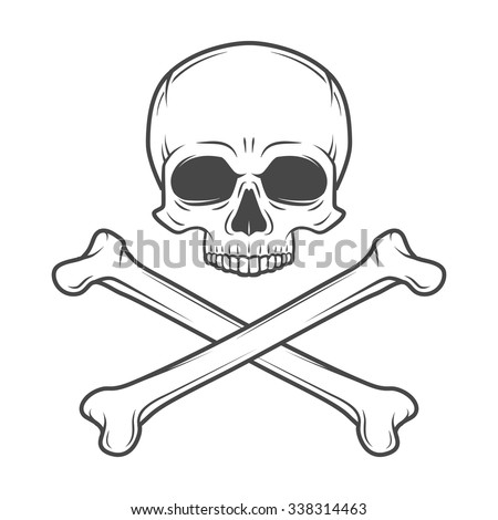 Human evil skull vector. Pirate insignia concept design. Jolly Roger with crossbones logo template. death t-shirt concept. Poison icon illustration. - stock vector