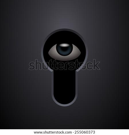 Human eye in keyhole. Vector illustration - stock vector