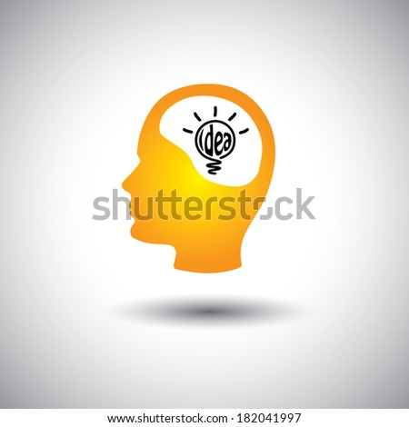 human face & brain with idea bulb - concept vector icon. This graphic also represents problem solving, genius mind, clever person, smart thinking, inventive mind, innovative man, abstract thought - stock vector