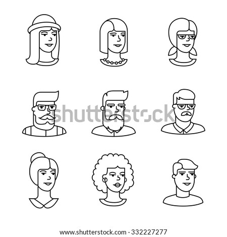 Human faces icons thin line art set. Hipster characters. Black vector symbols isolated on white. - stock vector