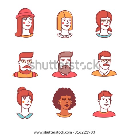 Human faces icons thin line set. Hipster characters. Flat style color vector symbols isolated on white. - stock vector