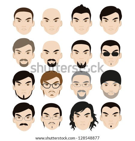 Human Faces With Different Style Isolated On White Background - Set - Vector Illustration, Graphic Design Editable For Your Design - stock vector