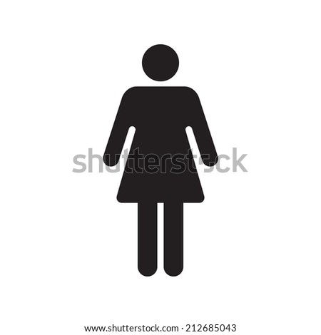 Human female sign icon. Woman Person symbol. Female toilet. Flat style. EPS 10. - stock vector