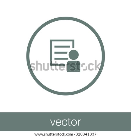 Human Figure Infront Of Document Icon - Personal Document Icon - Business Paper - Personal Resume Icon - Concept Flat Style Design Icon - stock vector