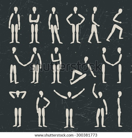 Human figures in different poses. Vector silhouette. - stock vector