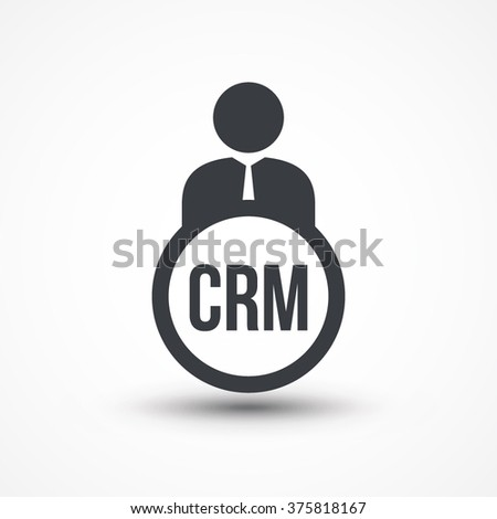 Human flat icon with word CRM Customer Relationship Management - stock vector