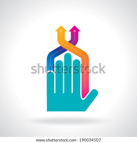 human hand and business chart arrows - stock vector