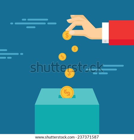 Human hand and money coins - vector illustration in flat style design. Donate dollar currency.  - stock vector