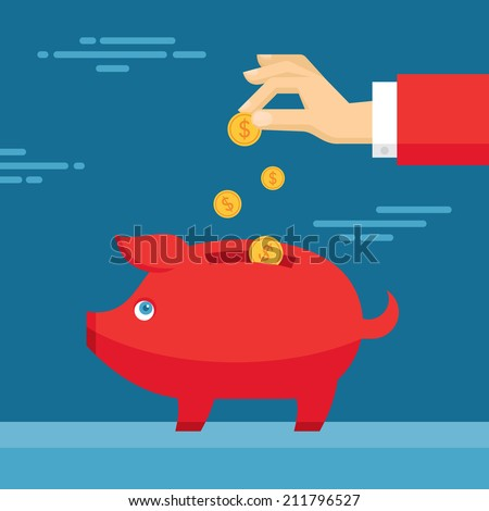 Human Hand and Moneybox Piggy. Illustration in flat design style. Finance business concept for presentation, booklet, website etc. - stock vector