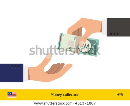 Human hand gives money to another person vector illustration. Malaysian ringgit banknote.  - stock vector