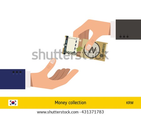 Human hand gives money to another person vector illustration. South Korean won banknote.  - stock vector