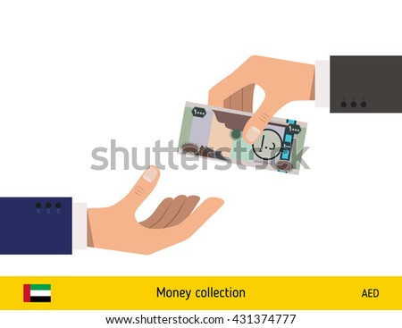 Human hand gives money to another person vector illustration. United Arab Emirates dirhams banknote. - stock vector