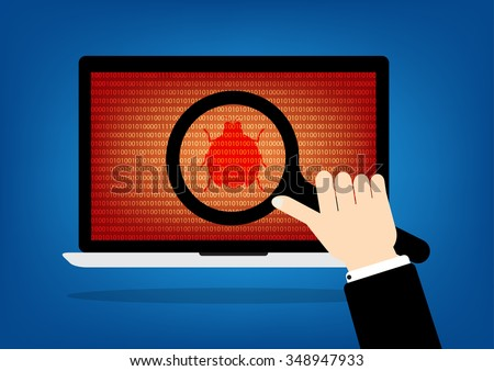 Human hand hold a magnifying glass find a red malware bug computer virus on laptop notebook. Vector illustration computer security technology concept. - stock vector