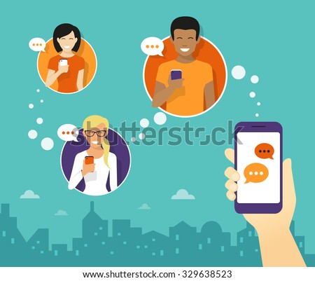 Human hand hold a smartphone and sending messages to friends via messenger app. Chat flat illustration - stock vector