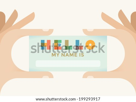 Human hand holding personal card with text Hello my name is and copy space for your text - stock vector