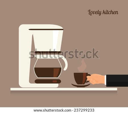 Human hand holds a cup of coffee near white coffee machine. Flat illustration - stock vector