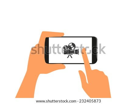 Human hand holds black smartphone with camera. Isolated on white - stock vector