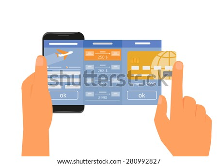 Human hand holds smartphone with mobile app for booking air passage to airplane online via internet. Vector illustration isolated on white. Text outlined - stock vector