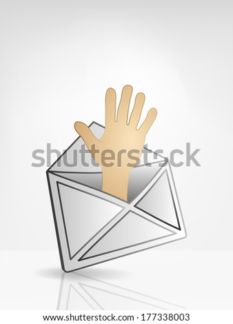 human hand in opened white envelope or email message vector illustration - stock vector