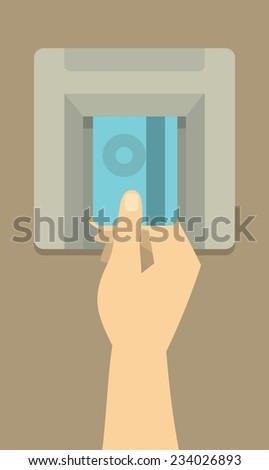 human hand inserts credit card at an ATM to get money - stock vector