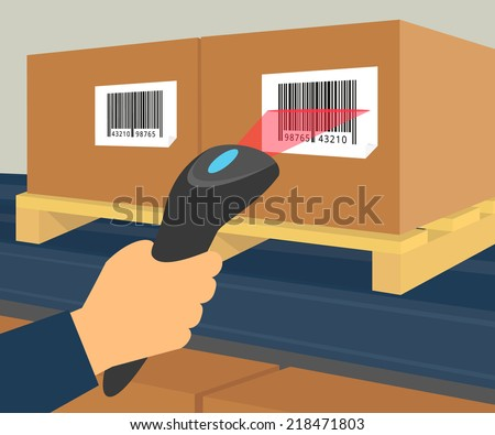 Human hand is scanning a box with barcode at the warehouse. - stock vector