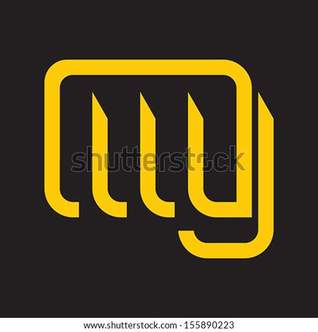 human hand punching icon - stock vector