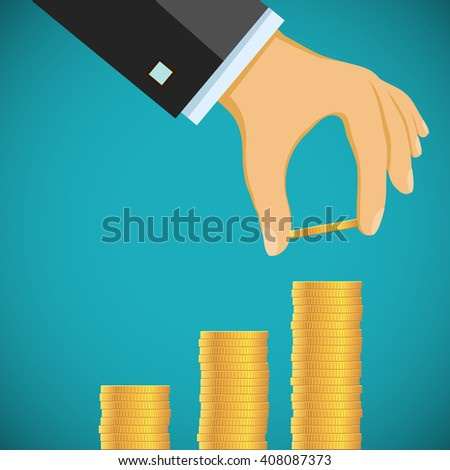Human hand puts gold coins by a stack. Growth of profit and revenue. Graph and chart. Stock vector illustration. - stock vector