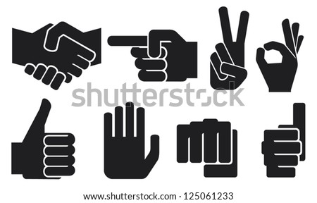 human hand sign collection (hand gesture silhouettes, finger pointing symbol, hand showing thumbs up, like symbol, human okay hand sign, fist symbol, the victory symbol, human hand giving ok) - stock vector