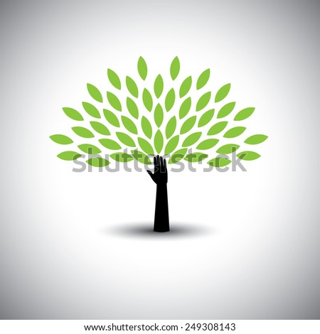 human hand & tree icon with green leaves - eco concept vector. This graphic also represents environmental protection, nature conservation eco friendly growth & expansion, sustainability nature loving - stock vector