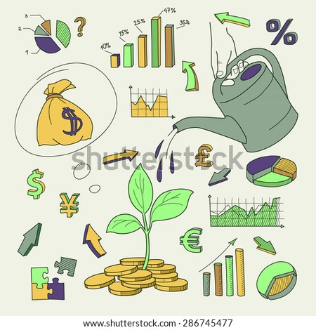 Human hand watering money coin tree with can - stock vector