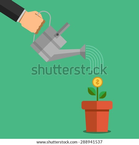 Human hand watering money dollar coin tree. Illustration in flat design style. Finance business concept for presentation, booklet, website etc. - stock vector