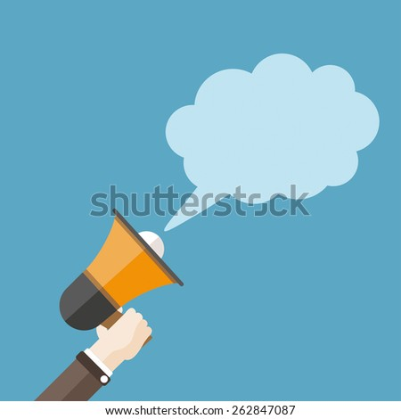 Human hand with a bullhorn and speech bubble. Eps 10 vector file. - stock vector