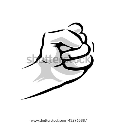 Human hand with a clenched fist. Vector black and gray illustration isolated on a white background. For web, poster, info graphic - stock vector