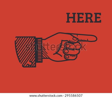 Human hand with pointing finger in retro style isolated on red background - stock vector