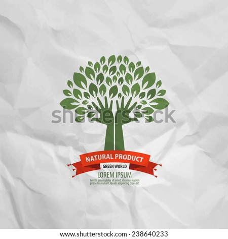 Human hands and tree with green leaves. Logo, icon, template, design  - stock vector
