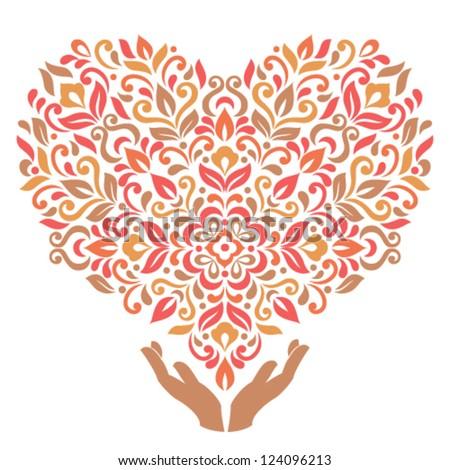 Human hands hold decorative heard. Valentine Day vector illustration. - stock vector