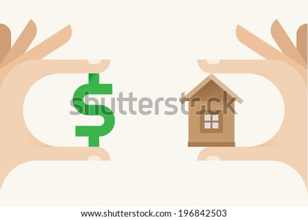 Human hands holding little house and money - Real estate market, realty deals and realtor concept. - stock vector