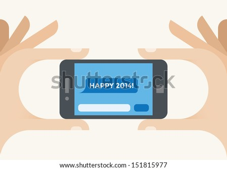 "Human hands holding mobile phone with ""Happy 2014!"" SMS message on the screen. - stock vector"