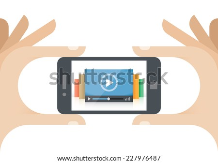 Human hands holding mobile phone with video player on the screen.  Idea - Mobile collection of films, Cloud computing technologies for internet video streaming, Video news - stock vector