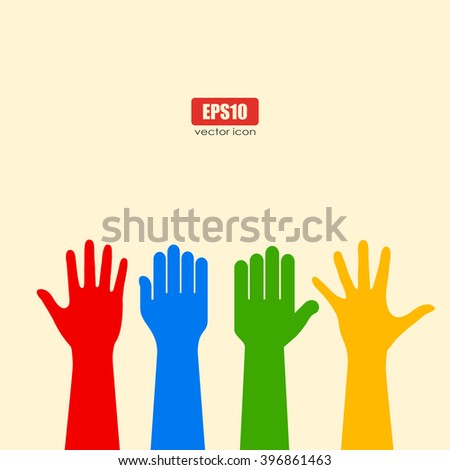 Human hands poster - stock vector